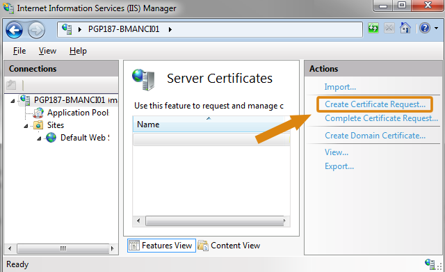 Step 2 CSR Generation using IIS 7